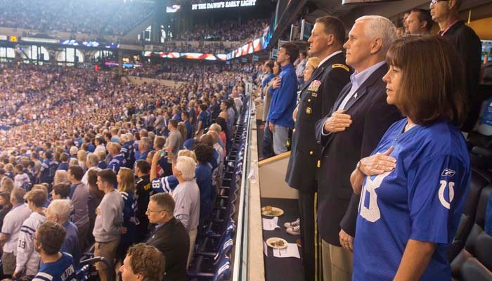 Vice President Mike Pence stood for the national anthem, but left the game when some players did not. (Source: @VP/Twitter)