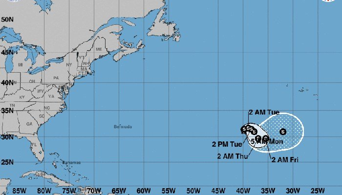 Tropical Storm Ophelia formed in the Atlantic, but is not expected to hit the U.S. mainland. (Source: National Hurricane Center)