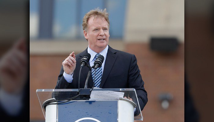NFL Commissioner Roger Goodell speaks during the unveiling of a Peyton Manning statue outside of Lucas Oil Stadium on Saturday in Indianapolis. (AP Photo/Darron Cummings)