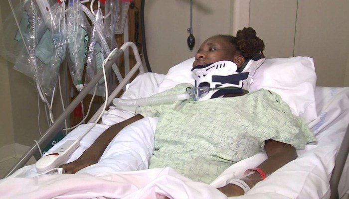 Tamara Collier is unable to move any part of her body except her head after being shot Sept. 1. (Source: KMOV/CNN)