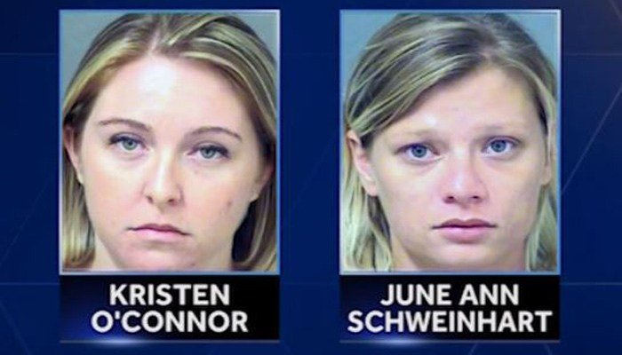 Police said Kristen O'Connor and June Schweinhart met in drug rehab and bonded because they were both pregnant and had the same due date. (Source: Palm Beach County Sheriff's Office/WPBF/CNN)