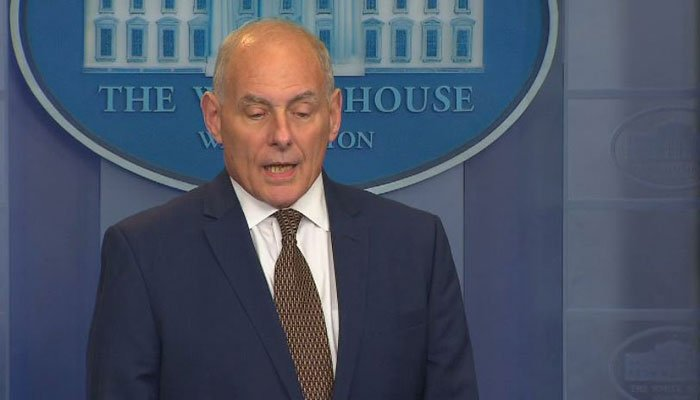 Trump Chief Of Staff John Kelly says false media reports are frustrating to him. (Source: Pool/CNN)
