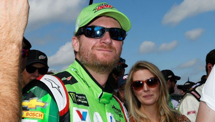 Monster Energy NASCAR Cup Series driver Dale Earnhardt Jr. looks on before a NASCAR Talladega auto race driver introductions at Talladega Superspeedway, Sunday, Oct. 15, 2017, in Talladega, AL. (Source: AP Photo/Brynn Anderson)