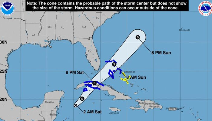 Projected path of tropical weather system that experts say could develop into a tropical storm. (Source: NWS)