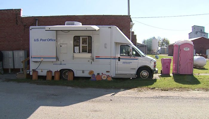 The former post office was deemed no longer fit, so a truck and Porta Potty were brought in.  (Source: WQAD/CNN)