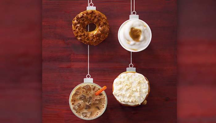 Christmas themed drinks are returning along with two new donut flavors. (Source: Dunkin Donuts via CNN)
