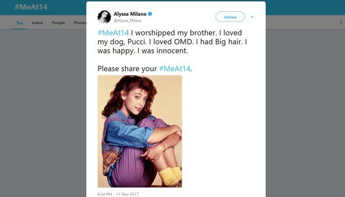 Actress Alyssa Milano was one of the many who shared photos of themselves at age 14, pointing out that girls that age are still children. (Source: @Alyssa_Milano/Twitter)