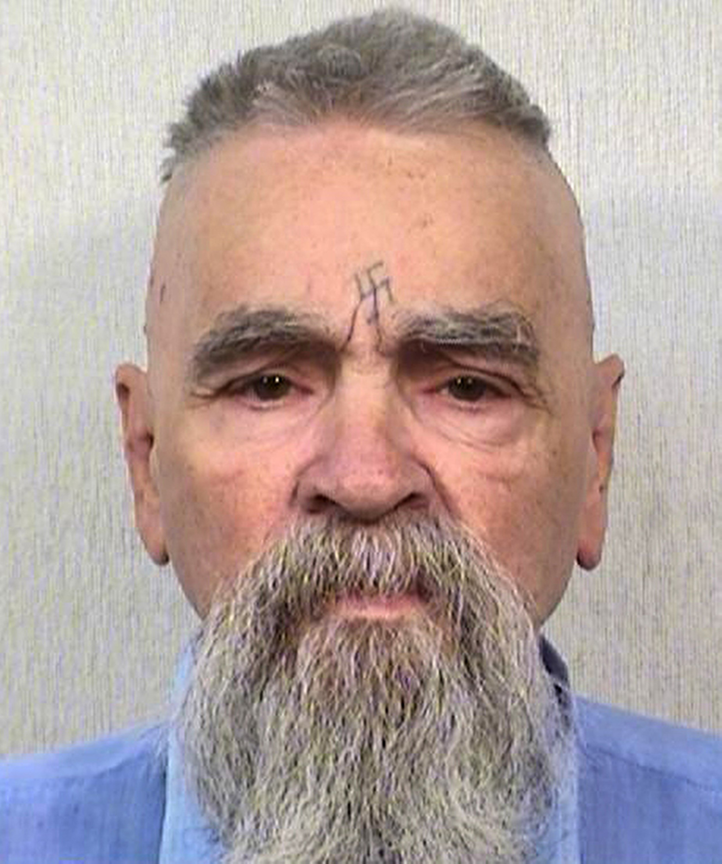 This Oct. 8, 2014 file photo provided by the California Department of Corrections and Rehabilitation shows serial killer Charles Manson. Manson has been hospitalized.  (California Department of Corrections and Rehabilitation via AP, File)