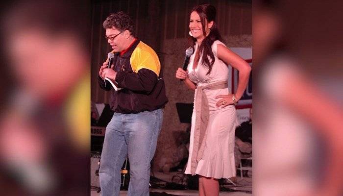Al Franken is shown with Leeann Tweeden in 2006 during a USO tour. Tweeden said that Franken kissed and groped her without her consent during this tour. (Source: Department of Defense/CNN)