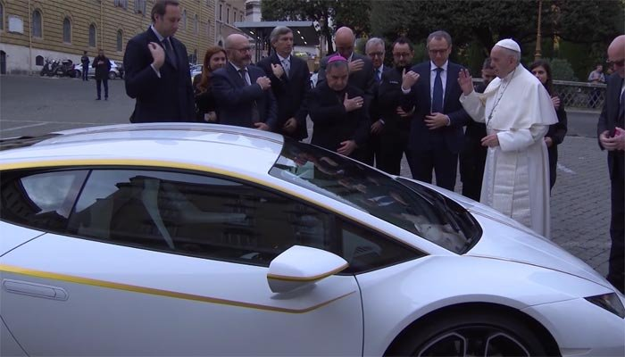 Pope receives special edition Lamborghini to auction for charity