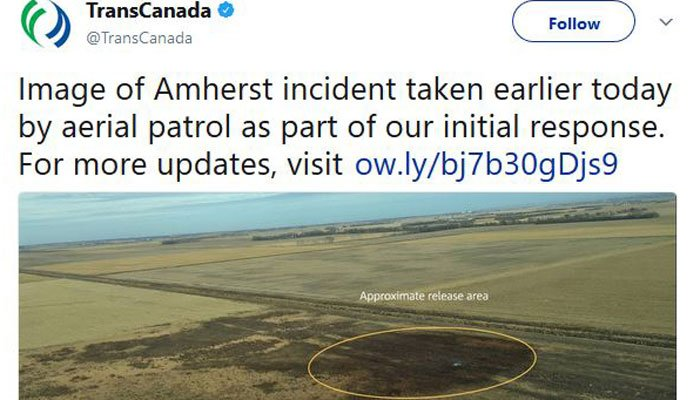 The company Thursday afternoon tweeted a photo it says shows the leak area. (Source: @TrransCanada/Twitter)