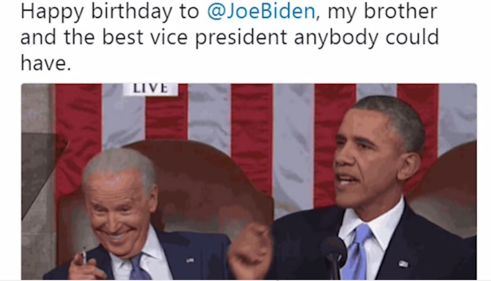 Obama tweeted a photo of his 2017 State of the Union Address and a birthday wish to Joe Biden. (Source: CNN)