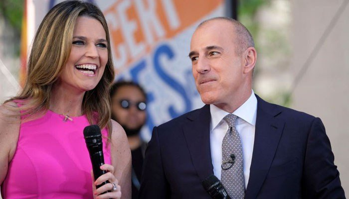 "Savannah Guthrie and Matt Lauer appear on NBC's ""Today"" show at Rockefeller Plaza on Friday, May 19, 2017, in New York. (Photo by Charles Sykes/Invision/AP)"