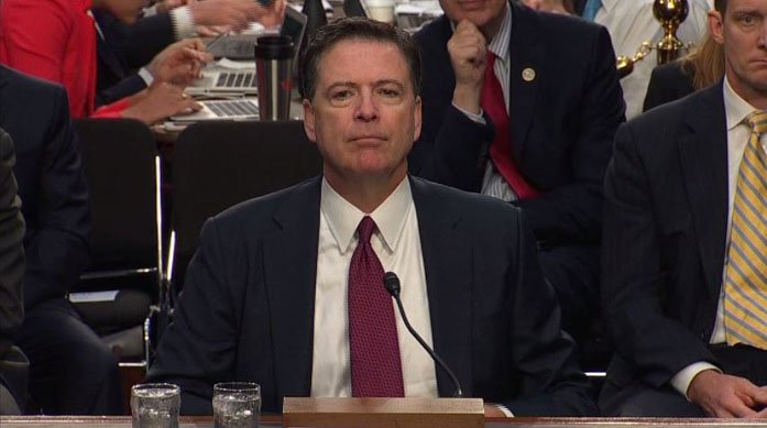 Former FBI Director James Comey testifies before a congressional committee that Trump pressed him to drop Russia probe. (Source: CNN)