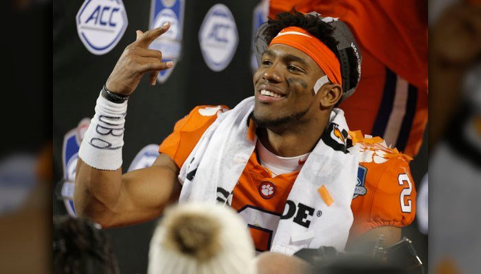 Clemson's Kelly Bryant (2) celebrates after winning the Atlantic Coast Conference championship NCAA college football game over Miami in Charlotte, N.C., Sunday, Dec. 3, 2017. (AP Photo/Bob Leverone)