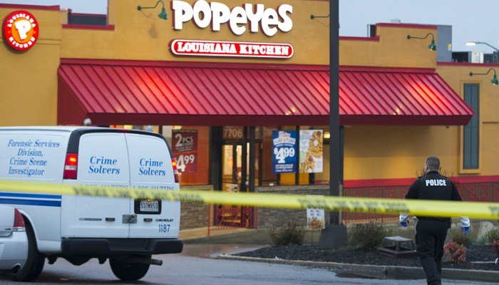 Police outside a Popeye's in Maryland in this 2016 file photo. (Source: Evan Vucci)