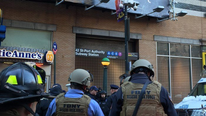 The New York Police Department has one person in custody in relation to an explosive device detonating Monday morning. (Source: FDNY/Twitter)