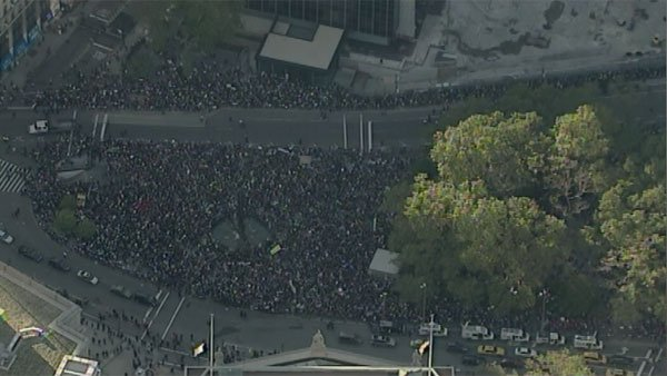An aerial shot puts the size of Wednesday afternoon's march on Wall Street into perspective. (Source: CNN/WABC)