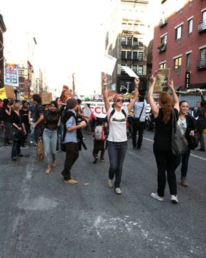 Protesters in Wednesday afternoon's demonstrations cross Bleeker Street in Lower Manhattan. (Source: Ardice Cotter)