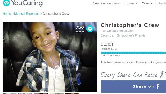 Christopher Bowen, 8, even had a Youcaring account in his name. But his conditions were imaginary, authorities said. (Source: Youcaring.gov)
