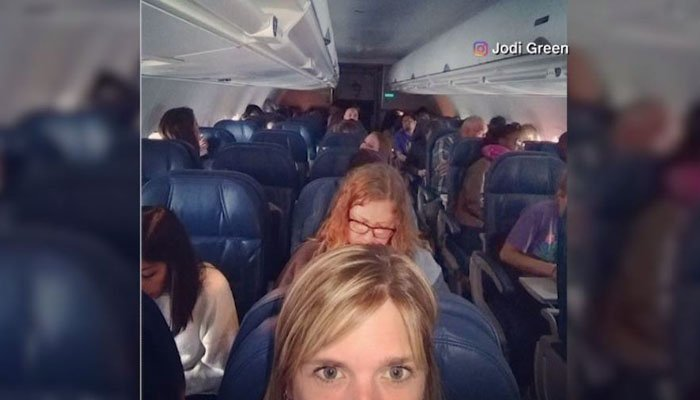 Passengers were stranded in Atlanta on grounded flights. (Source: Jodi Green/Instagram)