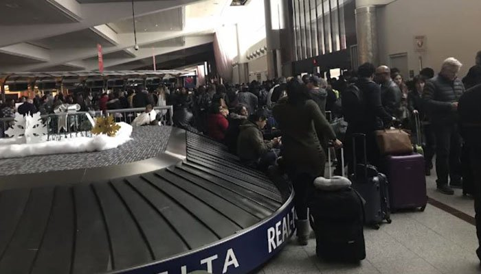 A massive power outage Sunday grounded hundreds of flights in and out of the Atlanta airport. (Source: CNN/Sheena Jones)