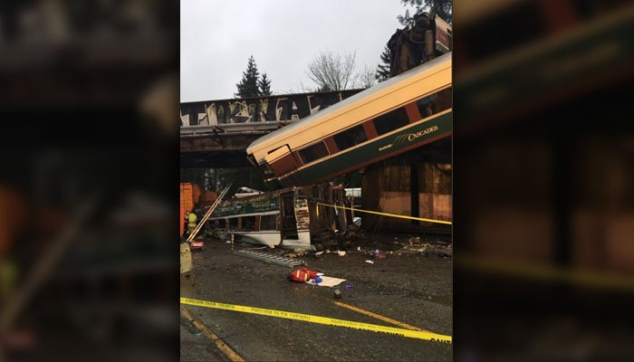 The Cascades train jumped the tracks and fell onto Interstate 5 outside of Tacoma, WA. (Source: Washington State Police/Twitter)