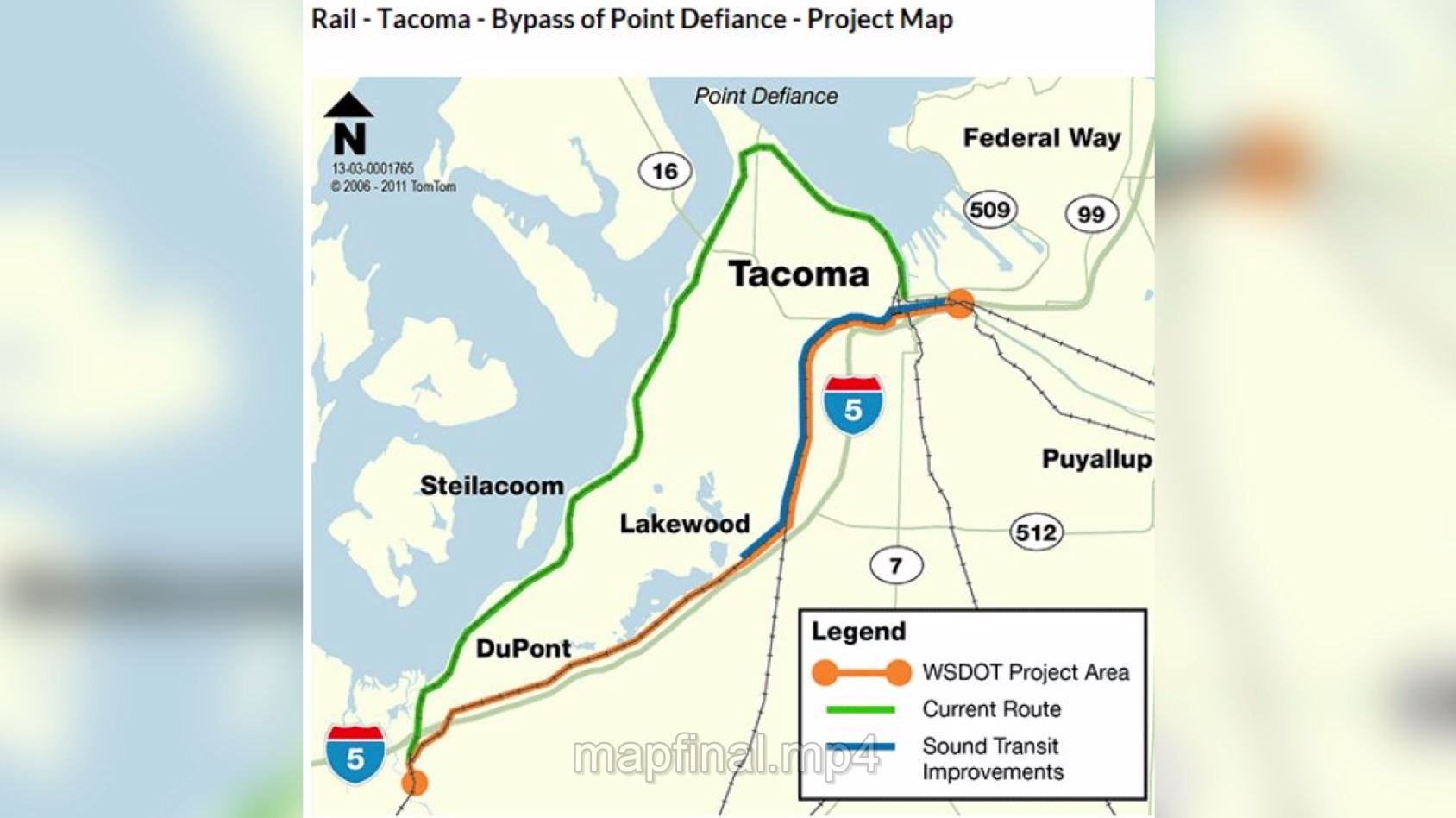 Amtrak Cascades began using the Point Defiance Bypass (orange line) on Dec. 18. Before that, trains ran along Puget Sound (green line). (Source: WSDOT/Amtrak)