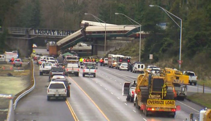The Cascades train jumped the tracks and fell onto Interstate 5 outside of Tacoma, WA. (Source: KOMO/CNN)