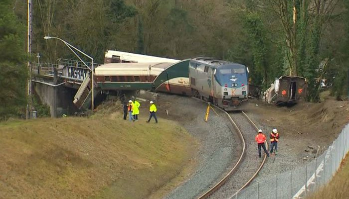 The train was traveling at 80 mph in a 30 mph zone when it derailed, the NTSB says. (Source: KOMO/CNN)