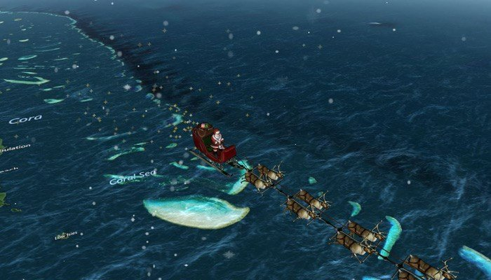 NORAD's tracker shows Santa Claus and his team of reindeer near the coast of Australia. (Source: www.noradsanta.org)