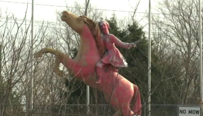 The statue of Nathan Bedford Forrest was painted pink by vandals who struck in the night. (Source: WZTZ/CNN)