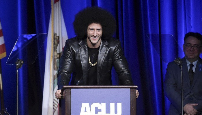 Colin Kaepernick attends the 2017 ACLU SoCal's Bill of Rights Dinner. (Source:Richard Shotwell/Invision/AP)