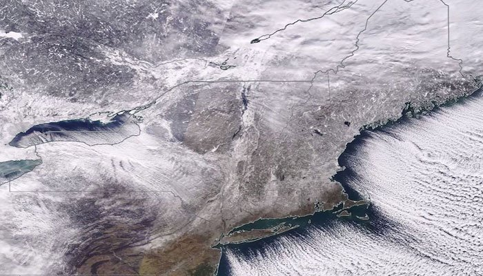 NASA provided a view from space on Thursday of the snow cover in the Northeast.  (Source: NASA/CNN)