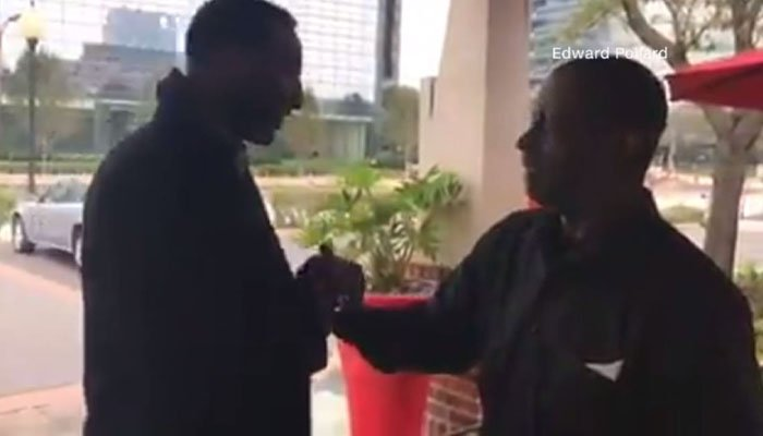 Ed Pollard often saw the waiter waiting for the bus, so he decided to give him a car. (Source: Facebook/CNN)