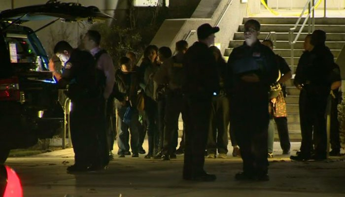 No one was injured, but classes were canceled Wednesday night. (Source: KCAL/KCBS/CNN)