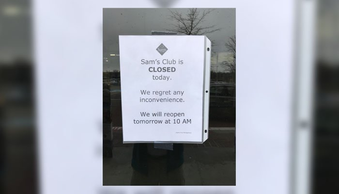Walmart closed Sam's Club stores in at least 10 states Thursday. (Source: Submitted)