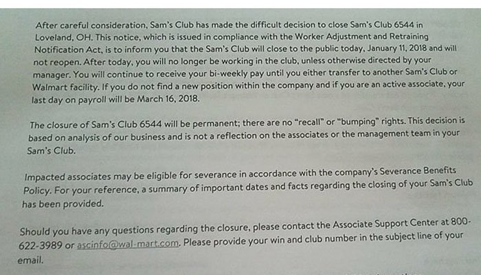 This is the notice Sam's Club employees received Thursday informing them they had been terminated. (Source: Facebook)