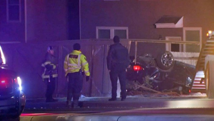 Sheriff's deputies in San Antonio, TX, believe the man was speeding when he lost control of his car, struck a curb and knocked down about 50 feet of fencing. (Source: KABB/WOAI/CNN)