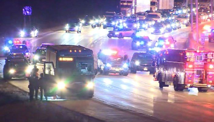 At least 40 passengers were on the bus at the time. No injuries were reported. (Source: WISN/CNN)