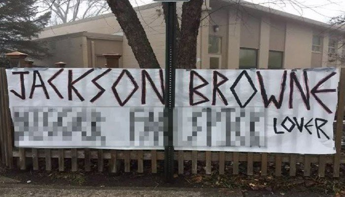 The banners appeared to reference a Jackson Browne concert on Tuesday. (Source: WLFI/CNN)