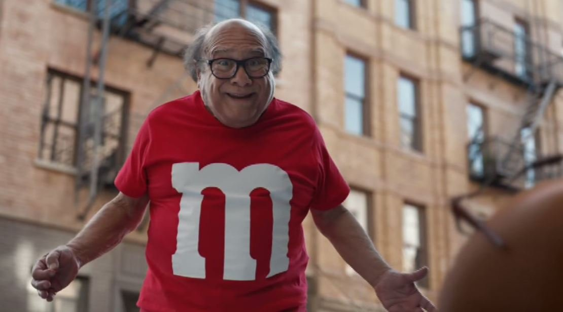 Danny DeVito stars in this hilarious M&Ms Super Bowl commercial. (Source: M&M)
