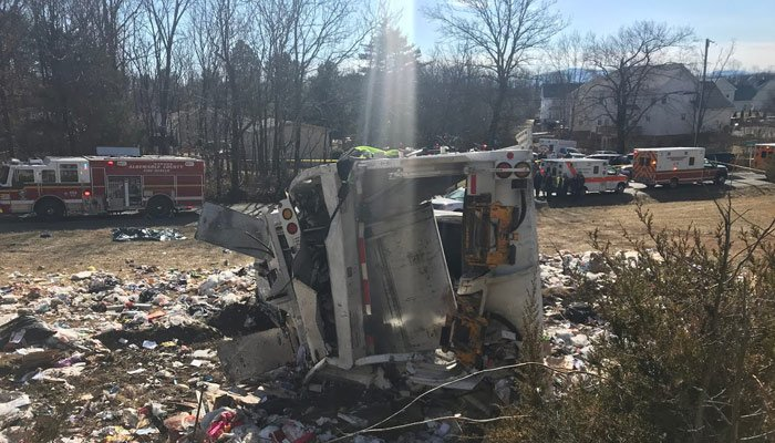 A train struck a garbage truck on Wednesday, killing one. (Source: Rep. Robert Pettinger/CNN)