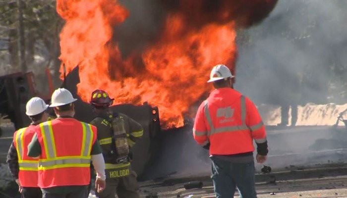 Gas tanker explodes on Highway 20 in crash with pickup