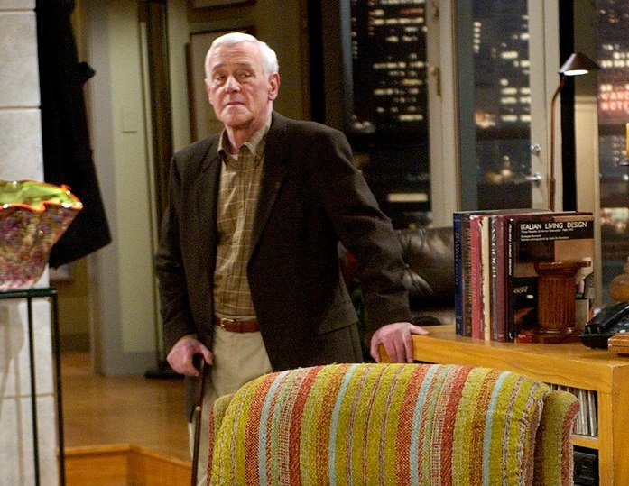 "In this March 23, 2004 photo, John Mahoney, who stars as Martin Crane, appears on the set during the filming of the final episode of ""Frasier."" Mahoney died Feb. 4 in Chicago after a brief hospitalization. (AP Photo/Reed Saxon)"