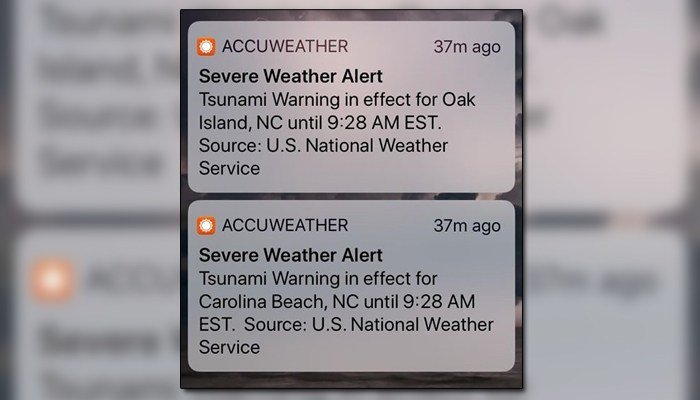 An false alert went out to East Coast and Gulf Coast states about a tsunami. (Source: WECT/Raycom)