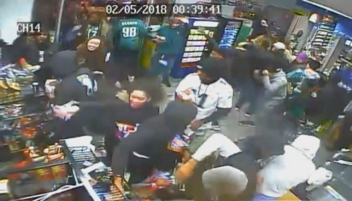 The video shows several men and women, many of them still decked out in Eagles gear, enter the store after the big game. They took food and sodas from the shelves and threw them everywhere. (Source: Philadelphia Police Department)
