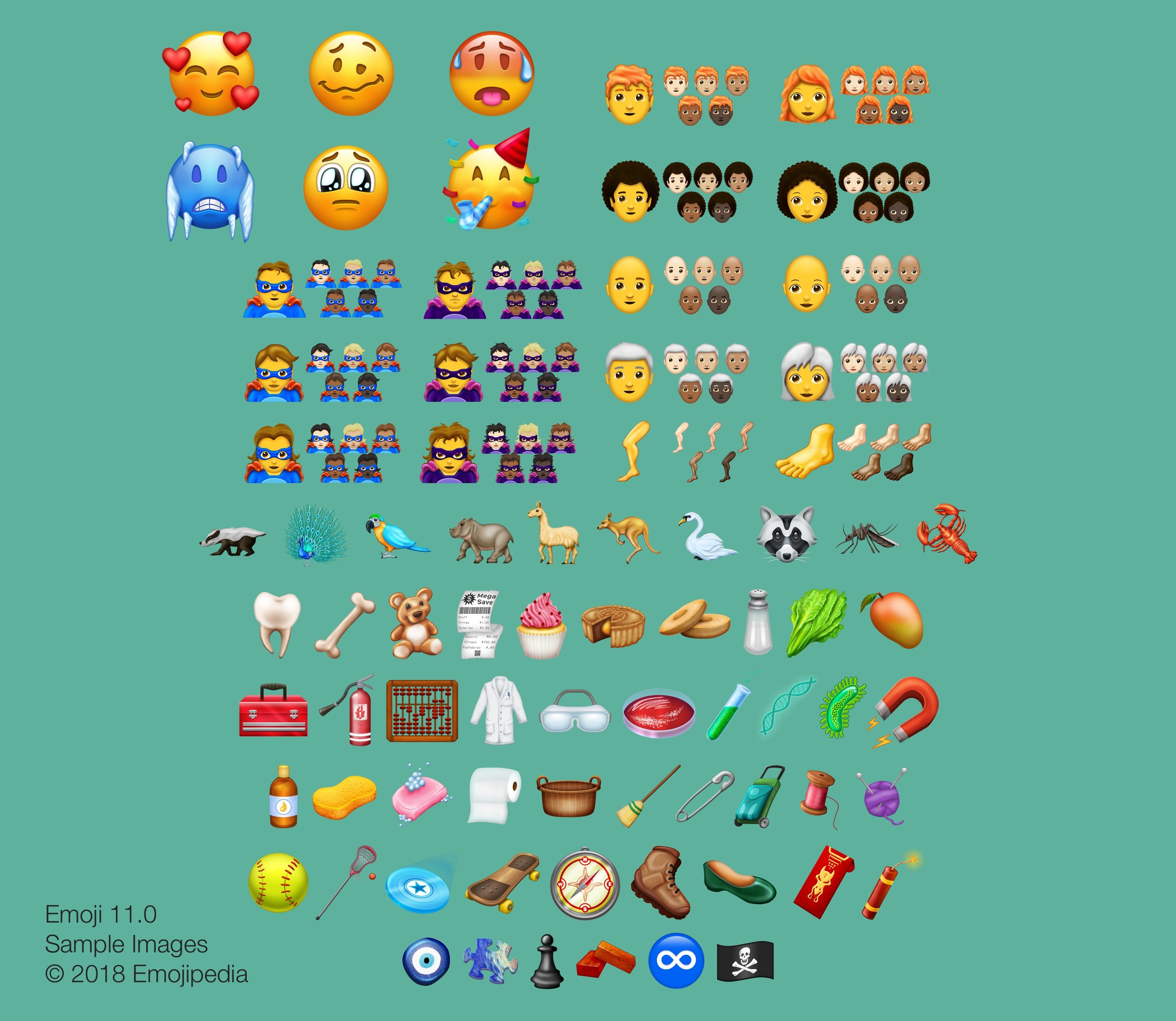 The latest collection includes a cupcake, lobster, pirate flag and more expressive smiley faces. (Source: Emojipedia)