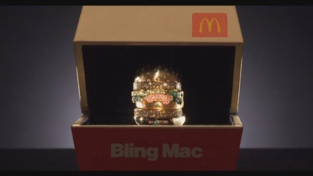 McDonald's is giving away a gold, gem-encrusted ring version of the classic Big Mac. (Source: McDonald's/YouTube/CNN)