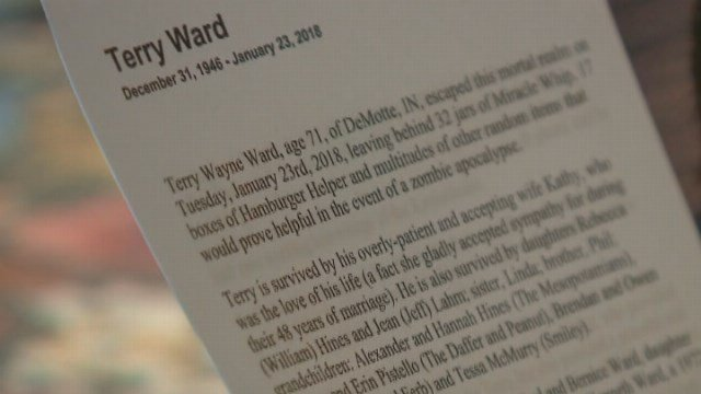 The obituary ends with a tongue-in-cheek request for donations, asking readers give to their favorite bar or watering hole. (Source: WGN/CNN)